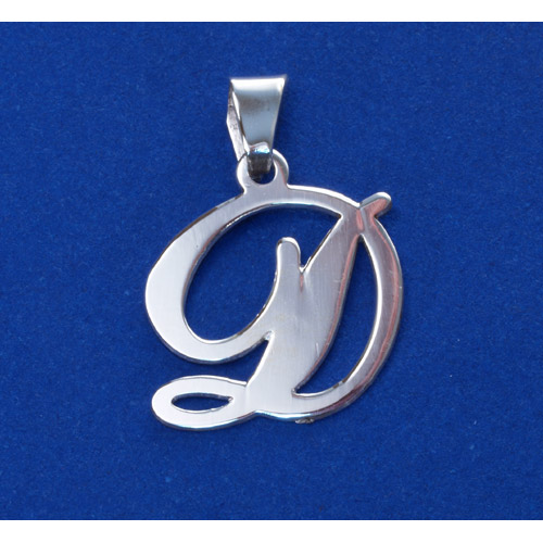 Sterling Silver Alphabet Initials 1 Inch Pendant - Letter D
