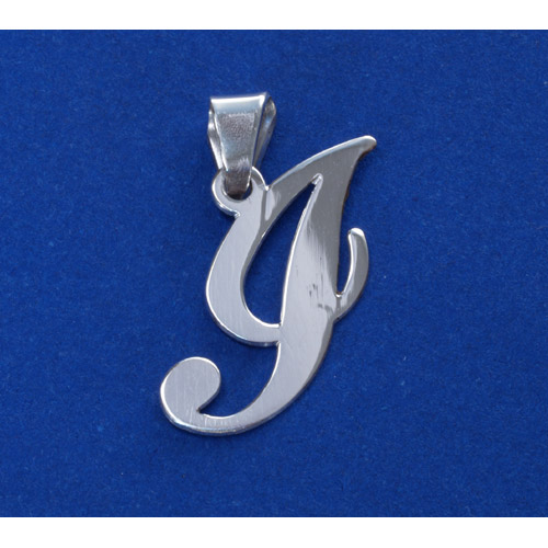 Sterling Silver Alphabet Initials 1 Inch Pendant - Letter I