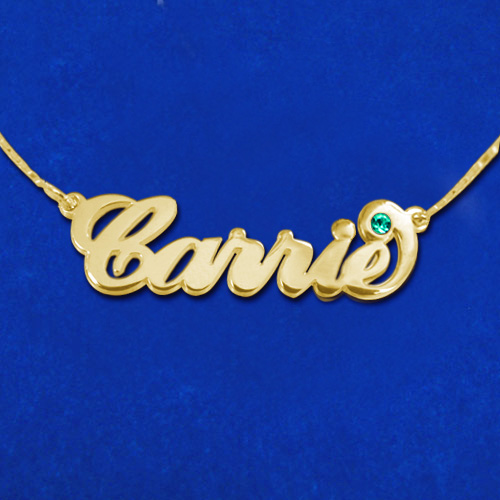 """18k Gold-Plated Sterling Silver """"Carrie"""" Style Name Necklace with Swarovski - 1"""