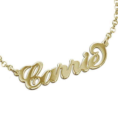 "18ct Gold-Plated Sterling Silver ""Carrie"" Style Name Bracelet / Anklet"