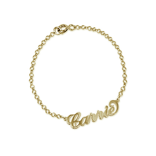 "18ct Gold-Plated Sterling Silver ""Carrie"" Style Name Bracelet / Anklet - 1"