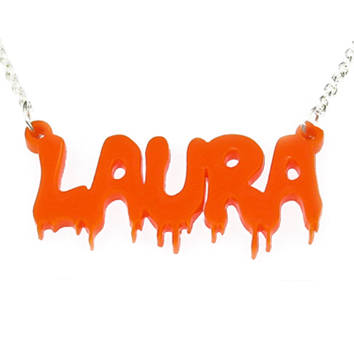 Bloody Mary Style Vinyl Crush Name Necklace