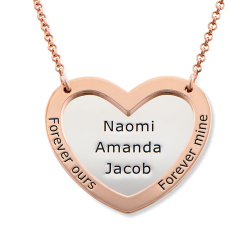 Double Heart Necklace in silver and Rose Gold Plated