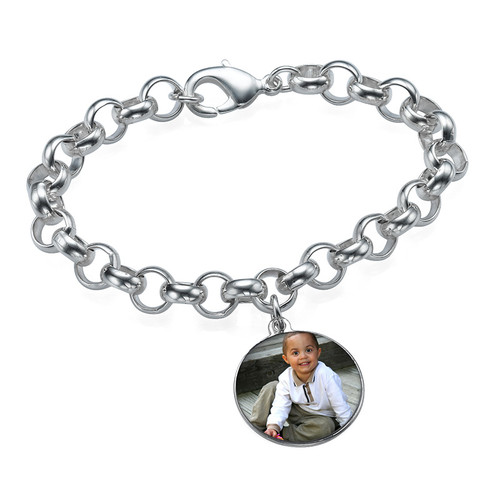 Round Shaped Photo Charm Bracelet - 1
