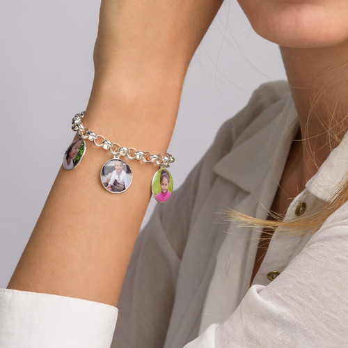 Round Shaped Photo Charm Bracelet - 3