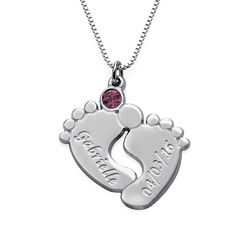 Engraved Baby Feet Necklace in Silver product photo