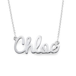 Personalised Cursive Name Necklace in Sterling Silver product photo