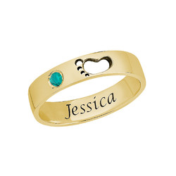 Baby Feet Ring with Inner Engraving in Gold Plated product photo