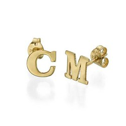 Initial Stud Earrings in 14ct Solid Gold - Print product photo