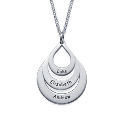 Engraved Family Necklace Drop Shaped in Sterling Silver product photo