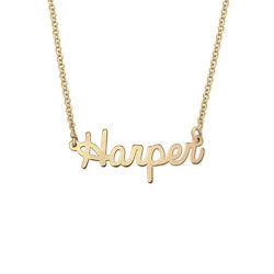 Tiny Personalised Jewellery - Cursive Name Necklace in 18ct Gold Plating product photo