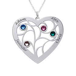 Heart Family Tree Necklace with birthstones in Sterling Silver product photo