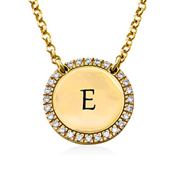 Personalised Round Cubic Zirconia Necklace in Gold Plating product photo