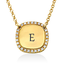 Personalised Square Cubic Zirconia Necklace in Gold Plating product photo
