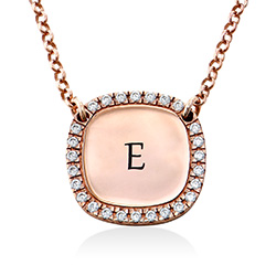 Personalised Square Cubic Zirconia Necklace in Rose Gold Plating product photo