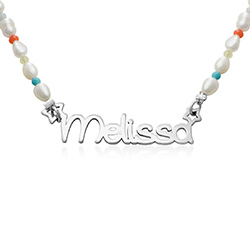 Pearl Candy Girls Name Necklace in Sterling Silver product photo