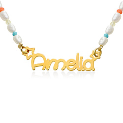 Pearl Candy Girls Name Necklace in Gold Plating product photo