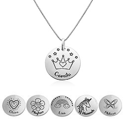 Kids Drawing Disc Necklace in Sterling Silver product photo