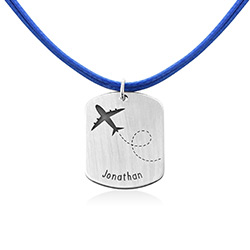 Airplane Personalised Dog Tag in Sterling Silver product photo