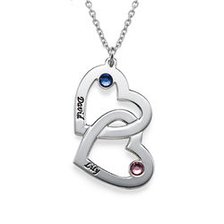 Personalised Heart in Heart Necklace with Birthstones product photo