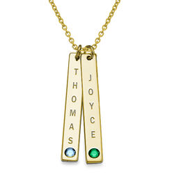 Vertical 18ct Gold Plated Bar Necklace with Birthstones product photo