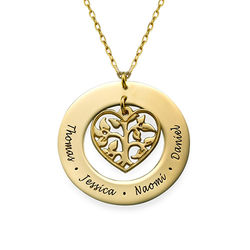 Heart Family Tree Necklace in 10ct Gold product photo