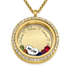Engraved Floating Charms Locket in Gold Plating - For Mum or Grandma product photo
