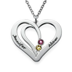 Engraved Birthstone Necklace in Silver product photo