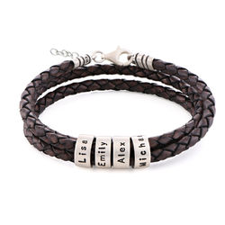 Women Braided Brown Leather Bracelet with Small Custom Beads in Silver product photo