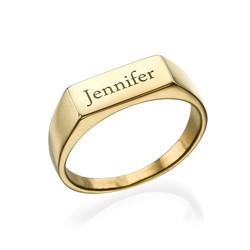 Gold Plated Engraved Signet Ring product photo