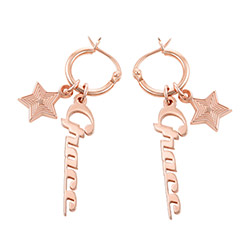 Siena Drop Name Earrings in 18ct Rose Gold Plating product photo