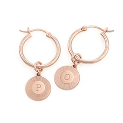 Odeion Initial Earrings in 18ct Rose Gold Plating product photo