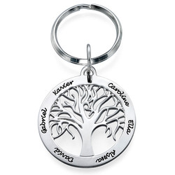 Personalised Family Tree Keyring in Sterling Silver product photo