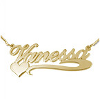Side Heart 18ct Gold - Plated Silver Name Necklace