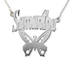 Personalised Sterling Silver  Butterfly Name Necklace