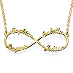Infinity 4 Names Necklace with Gold Plating