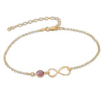Infinity Ankle Bracelet in Gold Plating with birthstone