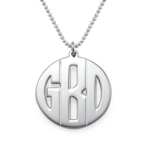 Personalised Silver Print Initials Necklace