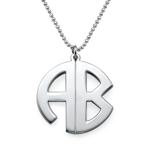 Personalised Silver Print Initials Necklace - 1