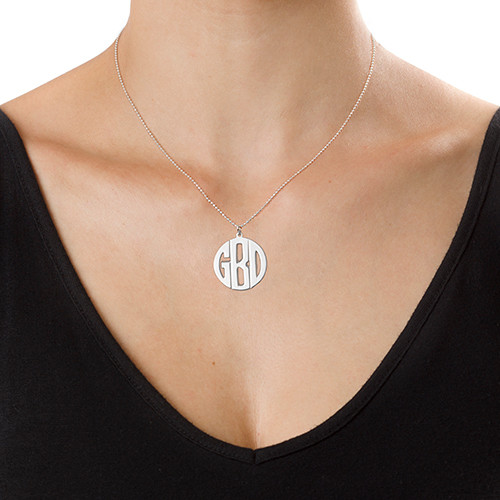 Personalised Silver Print Initials Necklace - 2
