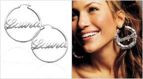 Jenifer Lopez with Silver Hoop Name Earrings