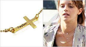 Engraved Side Cross Necklace Emma Watson