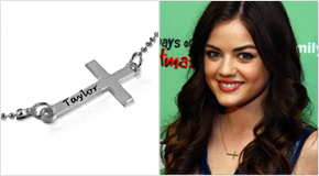 Engraved Side Cross Necklace Lucy Hale