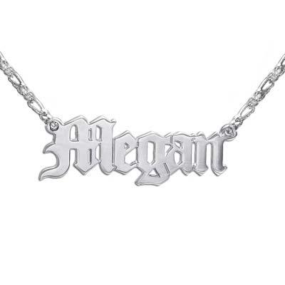 Doppeltstarke Sterling Silber Namenskette in altenglischer Schrift