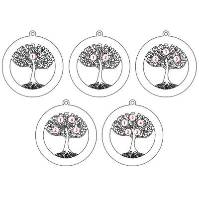 Vergoldete Lebensbaumkette mit Gravur und Geburtssteinen - 1