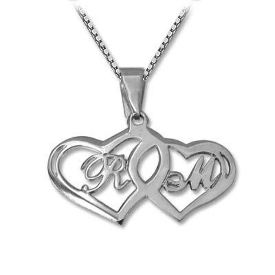 925 Silber Buchstabenanhänger mit zwei Herzen