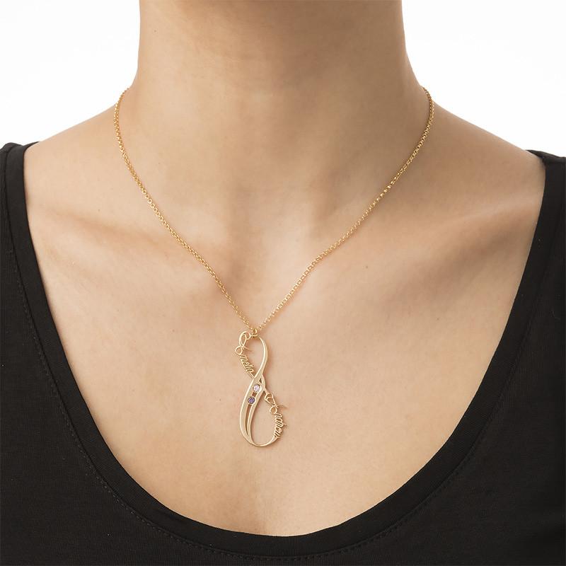 Vertikale Infinity Namenskette aus vergoldetem Silber mit Geburtssteinen - 2