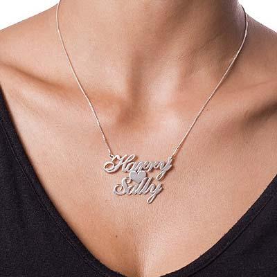 925er Silber Kette mit Herz und zwei Namen - 1