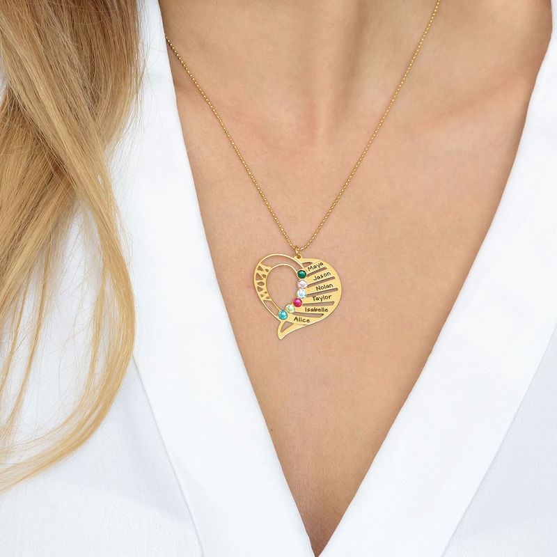 Gravierbare 585er Gold Geburtsstein Halskette für Mütter - 2