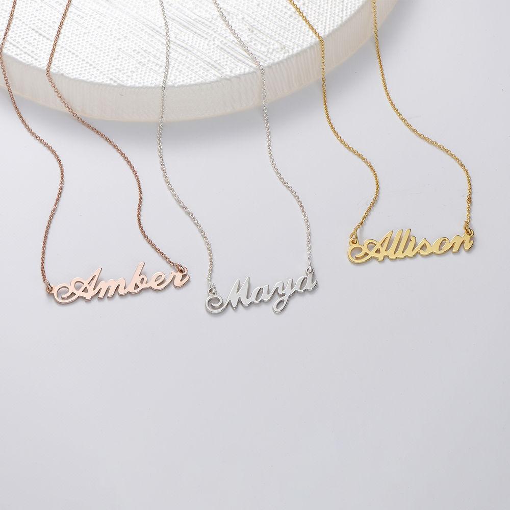 Kleine Namenskette in Druckschrift- Klassik aus 750 Rosé vergoldetem 925 Silber - 1
